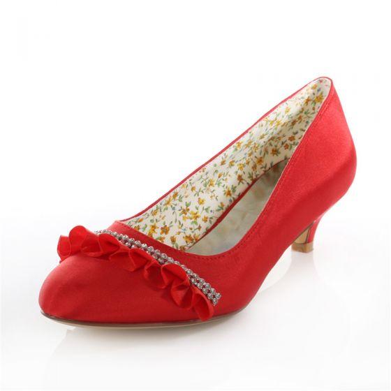 Elegante Rode Bruidsschoenen Satijn Kleine Hak Pumps