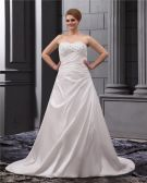 Satin Ruffle Sweetheart Court Plus Size Wedding Dress