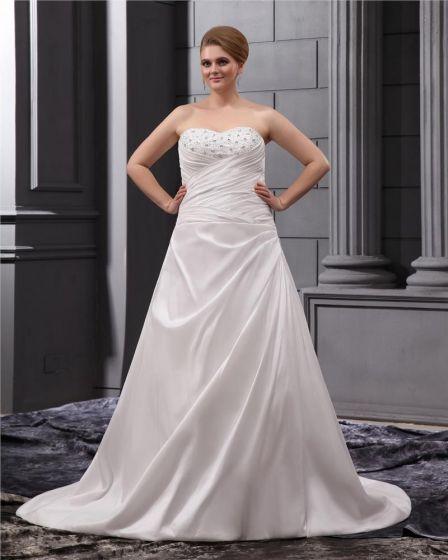 Satin Ruffle Sweetheart Court Plus Size Wedding Dress