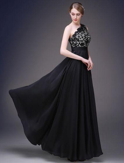 2015 A-line One Shoulder Beading Lace Black Satin Evening Dress