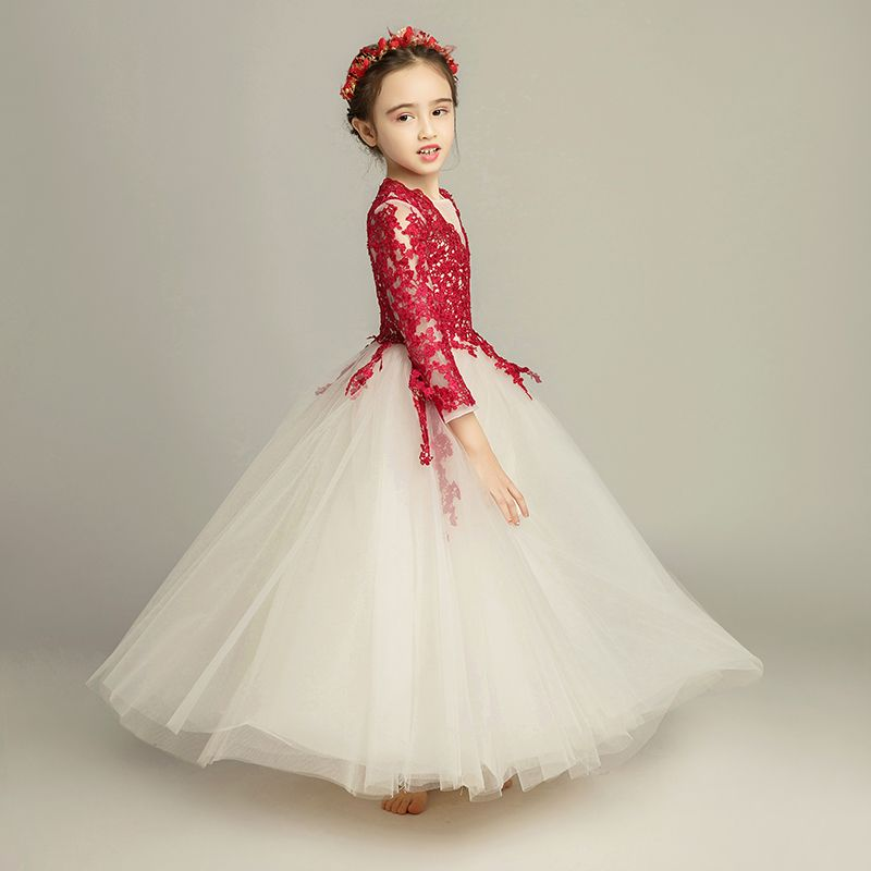 Elegant Champagne Flower Girl Dresses 2019 A-Line / Princess Scoop Neck 3/4 Sleeve Burgundy Appliques Lace Floor-Length / Long Ruffle Wedding Party Dresses