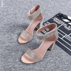 Schöne Nude Abend Sandalen Damen 2019 Leder Knöchelriemen Strass 9 cm Thick Heels Peeptoes Hochhackige