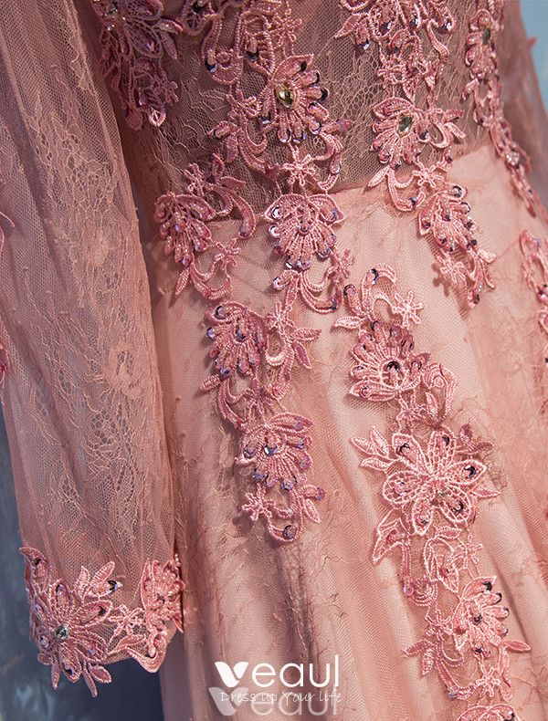 Glamorous Evening Dresses 2017 V-neck Applique Lace With Sequins Pearl Pink Lace Tulle Long Dress