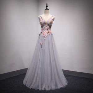 Chic / Beautiful Grey Prom Dresses 2018 A-Line / Princess Lace Flower Appliques Bow Beading V-Neck Backless Sleeveless Floor-Length / Long Formal Dresses