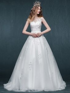 A-line Square Neckline Appliques Lace Beading Rhinestone Organza Wedding Dress