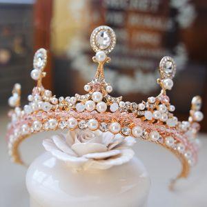 Vintage / Retro Gold Tiara 2019 Metal Pearl Crystal Rhinestone Bridal Hair Accessories