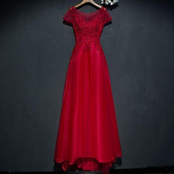 Piękne Czerwone Sukienki Wizytowe Sukienki Wieczorowe 2017 Z Koronki Kwiat Cekiny Perła Wycięciem Kótkie Rękawy Princessa