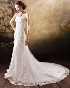 Satin Tulle Beading Flower Rhinestone Strapless Court Train Mermaid Wedding Dress