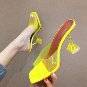 Chic / Beautiful Yellow Casual Womens Sandals 2020 See-through 8 cm Stiletto Heels Open / Peep Toe Pumps