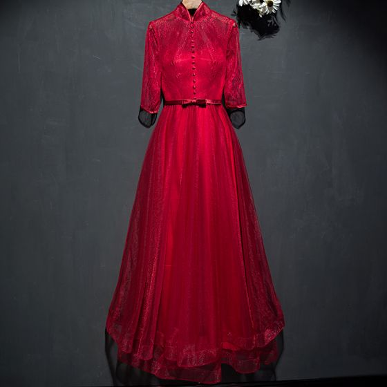 Hermoso Rojo Vestidos Formales 2017 Con Encaje Flor Bowknot La altura del tobillo 3/4 Ærmer A-Line / Princess Vestidos de noche