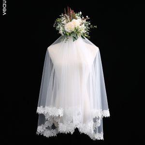 Flotte Hvide Korte Brudeslør 1.5 m Chiffon Blonde Bryllup Accessories 2019