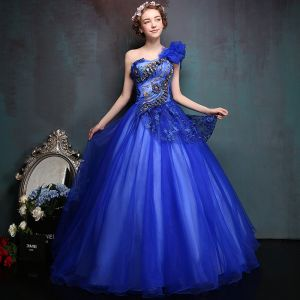 Affordable Royal Blue Prom Dresses 2017 Tulle One-Shoulder Ball Gown Appliques Backless Beading Prom Formal Dresses