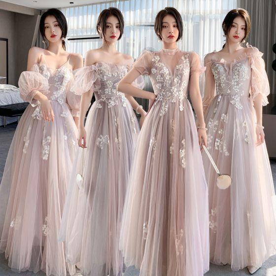 Mode Rosa Spitze Blumen Brautjungfernkleider 2021 A Linie Spaghettiträger Kurze Ärmel Rückenfreies Lange Brautjungfer Kleider Für Hochzeit