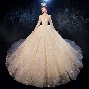 Luxus / Herrlich Champagner Durchsichtige Brautkleider / Hochzeitskleider 2020 Ballkleid Eckiger Ausschnitt 3/4 Ärmel Rückenfreies Glanz Tülle Perlenstickerei Kathedrale Schleppe Rüschen