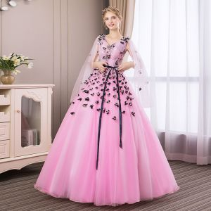 Affordable Candy Pink Prom Dresses 2018 Ball Gown Lace Flower Appliques Bow V-Neck Backless Long Sleeve Floor-Length / Long Formal Dresses