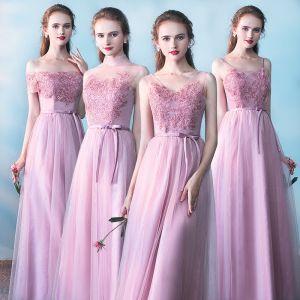 Mooie / Prachtige Bruidsmeisjes Jurken 2017 A lijn Kanten Bloem Strik Ruglooze Enkellange Bruidsmeisjes Jurken Voor Bruiloft