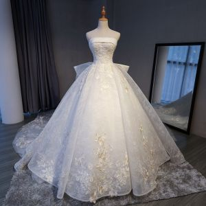 Luxury / Gorgeous White Cathedral Train Wedding 2018 Crossed Straps Lace-up Tulle Backless Beading Embroidered Ball Gown Wedding Dresses