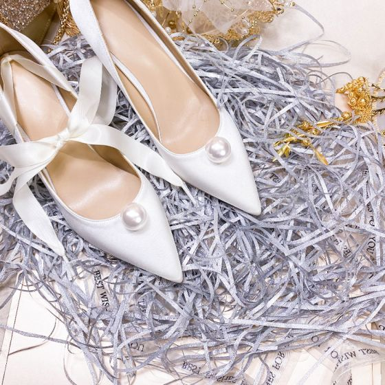 Chic / Beautiful Ivory Satin Wedding Shoes 2020 Pearl 8 cm Stiletto Heels Pointed Toe Wedding Pumps