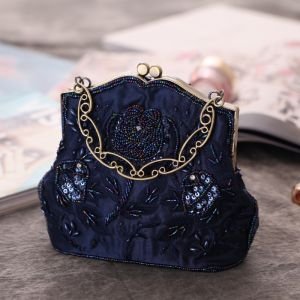 Chic / Belle Bleu Marine Perlage Perle Paillettes Métal Pochette 2018