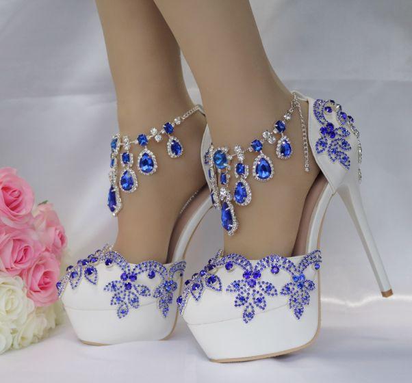 Encantador Azul Real Zapatos de novia 2018 Crystal Rhinestone 14 cm Stilettos / Tacones De Aguja Punta Redonda Boda High Heels
