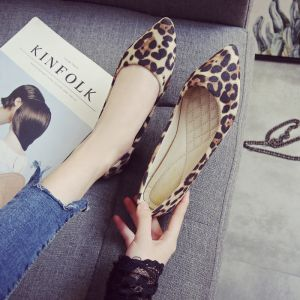 Affordable Khaki Leopard Print Casual Womens Shoes 2020 Pointed Toe Flat Heels