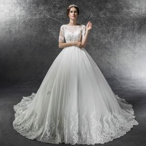 Empire Ivory Plus Size Pregnant Wedding Dresses 2019 Elegant See-through Square Neckline Short Sleeve Backless Appliques Lace Beading Cathedral Train Ruffle