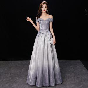 Schöne Farbverlauf Silber Glanz Abendkleider 2019 A Linie Off Shoulder Kurze Ärmel Rückenfreies Lange Festliche Kleider