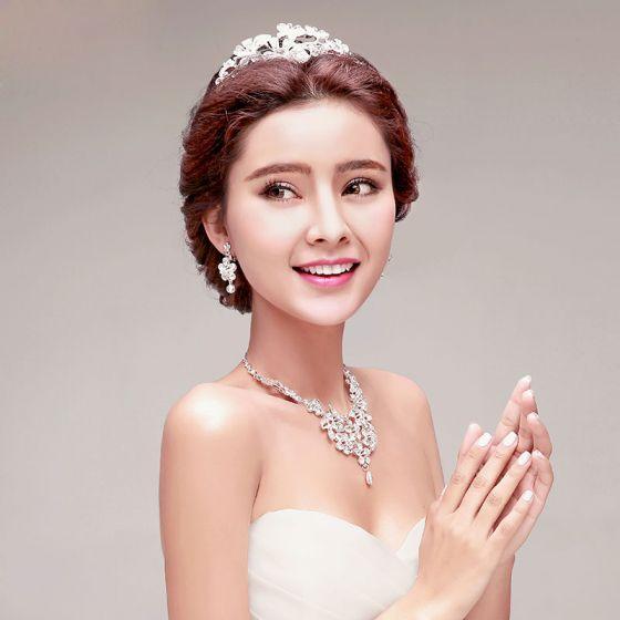Süße Braut Halskette / Ohrringe / Tiara Dreiteilige