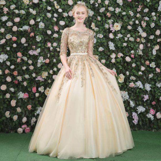 Elegantes Vestidos de gala 2017 Con Encaje Apliques Crystal Rhinestone Perla Sin Espalda Scoop Escote 3/4 Ærmer Largos Oro Ball Gown