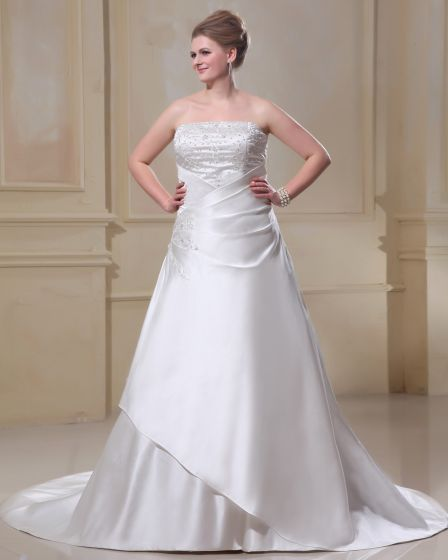 A-Line Square Sleeveless Sweep Embroidery Satin Plus Size Wedding Dress