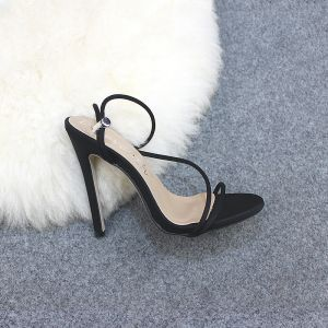 Chic / Beautiful Black Casual Womens Sandals 2020 Ankle Strap 12 cm Stiletto Heels Open / Peep Toe Sandals