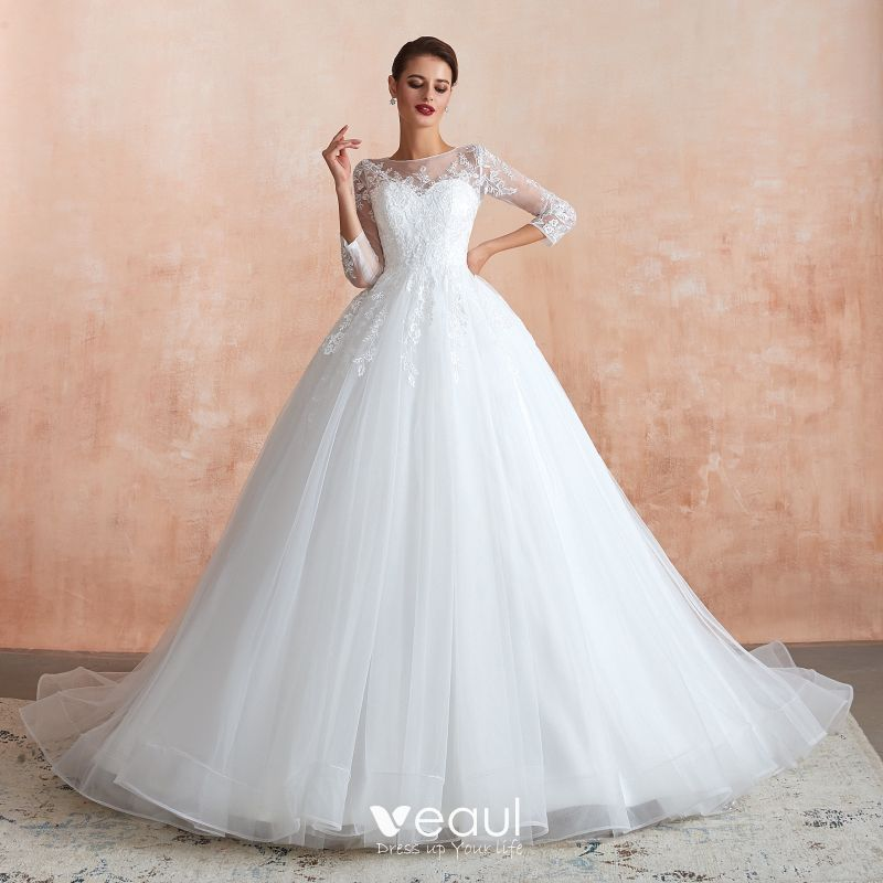 Romantic Ivory See Through Wedding Dresses 2020 Ball Gown Square Neckline 3 4 Sleeve Appliques Lace Chapel Train Ruffle