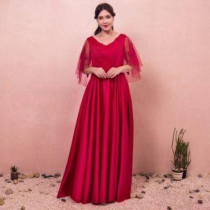Chic / Belle Rouge Grande Taille Robe De Soirée 2018 Princesse Lacer V-Cou Appliques Dos Nu Perlage Soirée Robe De Bal