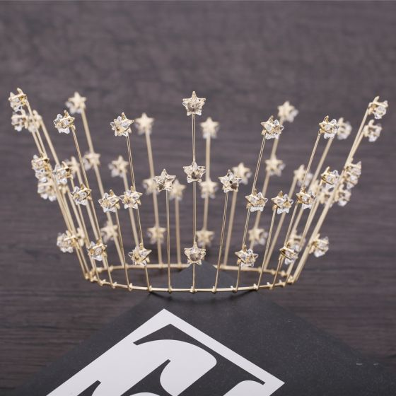 Modest / Simple Gold Bridal Hair Accessories 2019 Metal Star Crystal Tiara Wedding Accessories