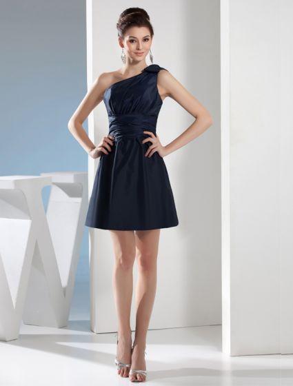 aca0748c5a Atrakcyjne Jedno Ramię Z Kokardką Krótkie Plisowane Sukienki Na Wesele  Sukienki Dla Druhen Skrzydeł