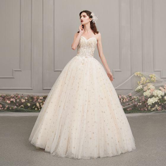Chic / Beautiful Champagne Outdoor / Garden Wedding Dresses 2019 A-Line / Princess Sweetheart Sleeveless Backless Beading Glitter Star Floor-Length / Long Ruffle