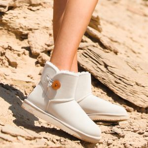 Modest / Simple Ivory Snow Boots 2020 Waterproof Leather Buttons Ankle Winter Flat Casual Round Toe Womens Boots