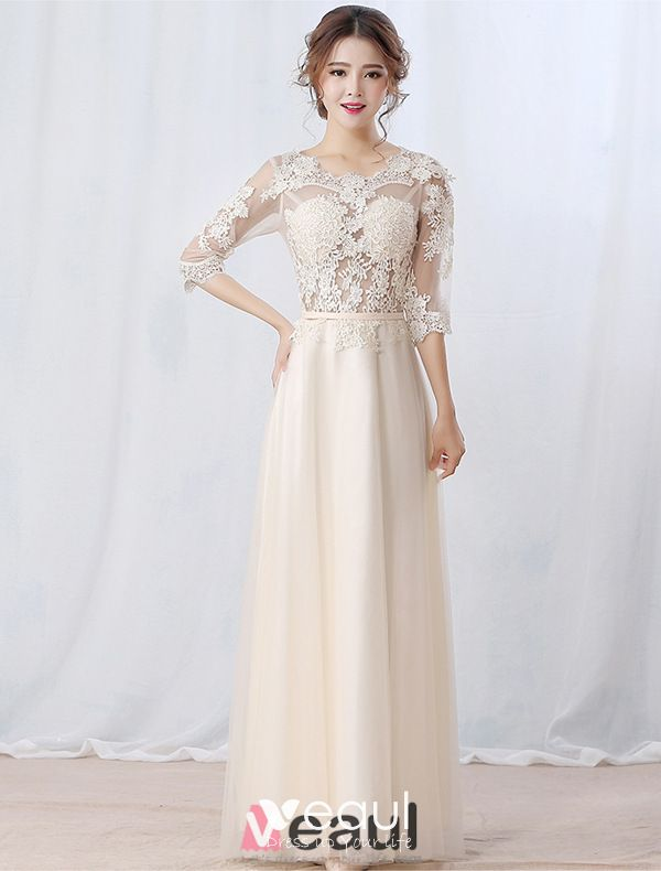 Glamorous Evening Dresses 2016 Applique Lace Backless Champagne Tulle Long Formal Dresses