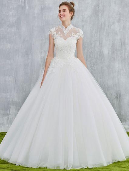 7ae86102 Kendt Elegante Brudekjoler 2017 Vintage Hals Applique Blonder Og NA58