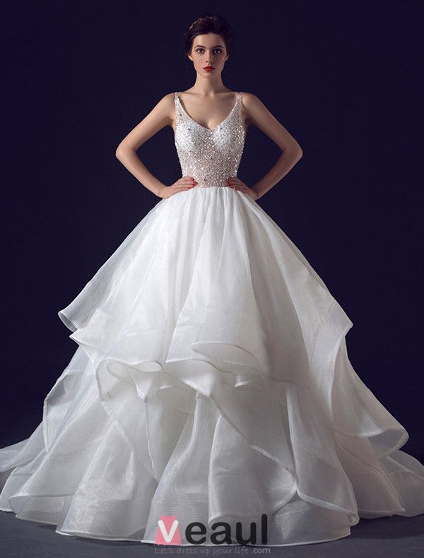 2016 Sexy Ball Gown V-neck Sequins Backless Cascading Ruffles Wedding Dress