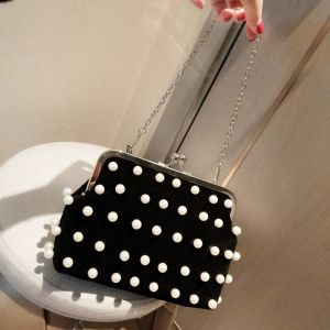 Chic / Beautiful Beading Pearl Black Suede Clutch Bags 2018
