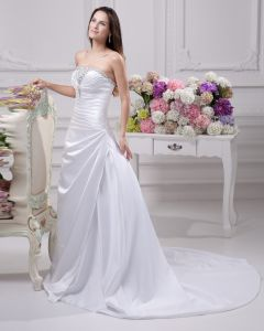 Floor Length Strapless Beading Pleated Satin A Line Wedding Dress