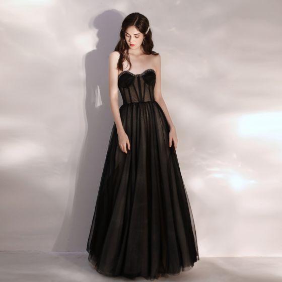 Seksowne Przezroczyste Czarne Sukienki Na Bal 2020 Princessa Kochanie Bez Rękawów Frezowanie Długie Wzburzyć Bez Pleców Sukienki Wizytowe