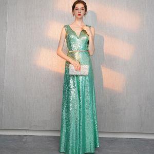 Scintillantes Vert Paillettes Robe De Soirée 2018 Princesse V-Cou Sans Manches Métal Ceinture Longue Volants Dos Nu Robe De Ceremonie