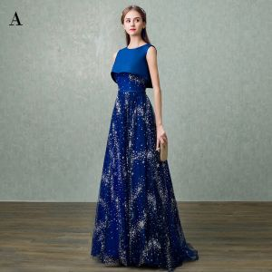 Chic / Beautiful Sparkly Royal Blue Evening Dresses  2017 A-Line / Princess U-Neck Lace Backless Glitter Sequins Chiffon Bling Bling Homecoming Evening Party Prom Dresses