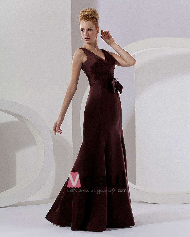 Flowers Satin Ruffles V-Neck Sleeveless Floor Length Bridesmaid Dresses