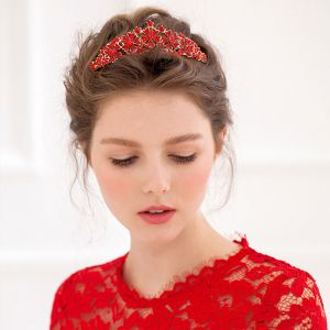Red Bride Headdress / Crown/ Tiara / Diamond Hair Hoop
