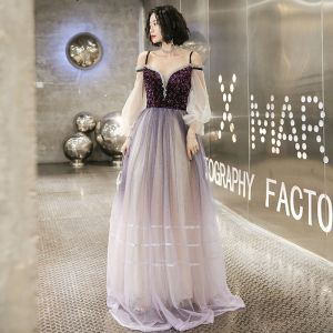 Chic / Beautiful Gradient-Color Purple Evening Dresses  2020 A-Line / Princess Spaghetti Straps Sequins 3/4 Sleeve Backless Floor-Length / Long Formal Dresses