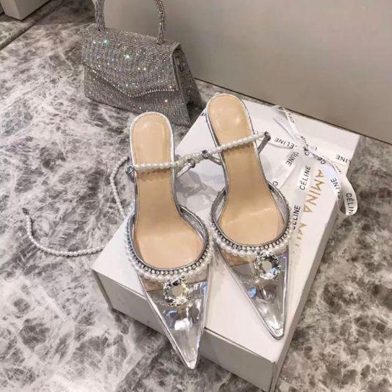 Sexy Sølv Fest Rhinestone Sandaler Dame 2020 Lær Perle Ankelstropp 8 cm Stiletthæler Spisse Sandaler