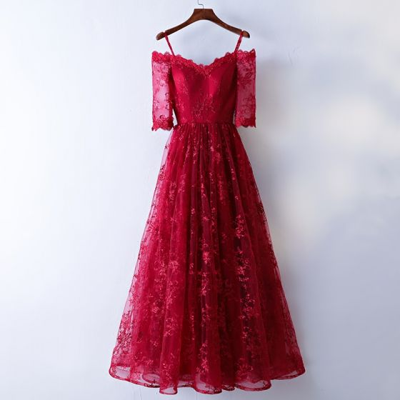 Chic / Beautiful Red Evening Dresses  2017 A-Line / Princess Lace Flower Spaghetti Straps Strapless Backless 1/2 Sleeves Ankle Length Evening Party
